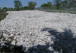 Clean Rock Installation, Lake Drive Drainage Ditch in Area 4A / Looking West (April 29, 2015)