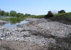 Clean Rock Installation, Lake Drive Drainage Ditch in Area 4A / Looking East (April 29, 2015)