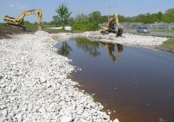 Clean Rock Installation, Drainage Ditch in Area 4A / Looking West / Northwest (April 30, 2015)