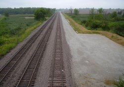 Railroad Tracks Seen from Lake Drive Bridge / Looking South (August 8, 2014)