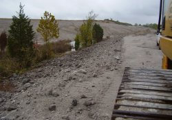 Gypsum Berm Reduction and Buttress Building Activities / Looking West (October 14, 2014)