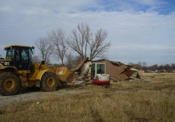 Demolition of Concession Building in Former Ballfields Area / Looking Northwest (December 3, 2014)