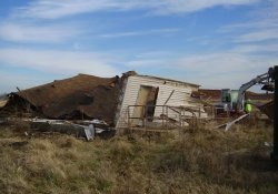 Demolition of Concession Building in Former Ballfields Area / Looking East / Northeast (December 3, 2014)