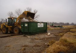 Loading Concession Stand Debris for Disposal, Former Ballfields Area / Looking North / Northwest (December 4, 2014)
