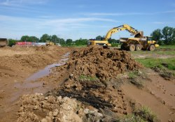 Material Removal from OU-2 Former Ballfields Area to OU-1 Area 1A / Looking Southwest (July 14, 2015)
