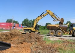 Excavation and Soil Backfill Activities, Southeastern Former Ballfields Area / Looking West (June 10, 2015)