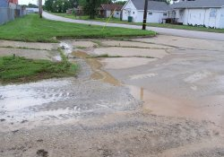 Storm Water Subsidence, Intersection of MLK and 29th Street / Looking East / Southeast (June 26, 2015)