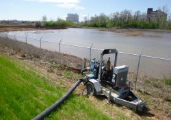 Equipment Used to Pump Water from OU-2 Lewis/Paule Property Excavation Into Area 1a West Pond / Looking Southeast (April 7, 2016)