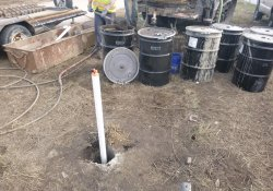 Drilling for MW-5 (Deep) Monitoring Well Installation / Looking East (December 9, 2015)