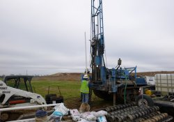 Groundwater Monitoring Well Installation, MW-7S, OU-2 Former Ballfields Area / Looking East / Northeast (December 15, 2015)