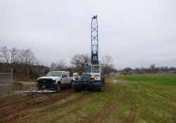 Groundwater Monitoring Well Installation, MW-7S, OU-2 Former Ballfields Area / Looking West (December 15, 2015)