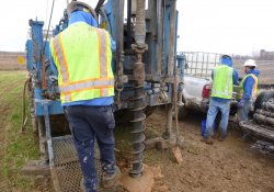 Groundwater Monitoring Well Installation, MW-7S, OU-2 Former Ballfields Area / Looking East / Southeast (December 15, 2015)