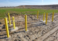 Bollard Protection for Newly Completed Groundwater Monitoring Wells MW-7 & MW-7S / Looking South / Southwest (January 5, 2016)