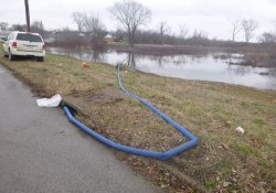 Pumping of Ponded Water Behind St. Matthews Baptist Church / Looking Northeast (January 8, 2016)