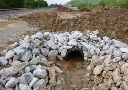 A&S Railroad Gabion Wall Drainage Pipe Installation Activities / Looking South (August 7, 2015)