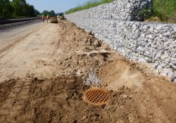 A&S Railroad Gabion Wall Drainage Pipe Installation Progress / Looking South (August 17, 2015)