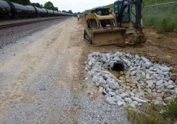 A&S Railroad Gabion Wall Drainage Pipe Installation Progress / Looking South (August 18, 2015)