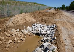 A&S Railroad Gabion Wall Drainage Ditch Pipe Installation Progress, Final Activities / Looking North (August 25, 2015)