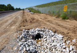 A&S Railroad Gabion Wall Drainage Ditch Pipe Installation, Eastern OU-1 Boundary, Final Activities / Looking West (August 25, 2015)