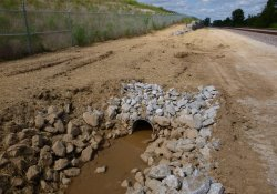 Status of A&S Railroad Gabion Wall Drainage Ditch Pipe Installation Activities / Looking North (August 26, 2015)