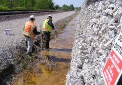 Piezometer Installation, A&S Railroad Gabion Wall Drainage Ditch / Looking South (April 30, 2015)