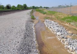 A&S Railroad Gabion Wall Drainage Ditch, South End / Looking South (April 30, 2015)