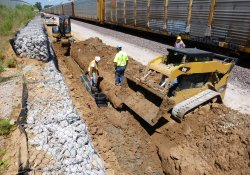 Installation of A&S Railroad Gabion Wall Drainage Pipe Along Eastern OU-1 Boundary / Looking North (July 31, 2015)