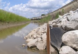 Storm Water Culvert, South End of A&S Railroad Gabion Wall / Looking North (May 28, 2015)