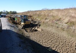 A&S Railroad Gabion Wall Drainage Ditch Regrading / Looking South (October 29, 2015)