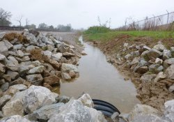 A&S Railroad Gabion Wall Drainage Ditch / Looking South (October 27, 2015)