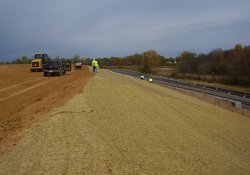 Erosion Control Matting Installed Over New Seed Above A&S Railroad Gabion Wall / Looking North (October 30, 2014)