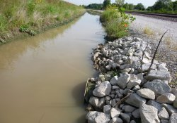 A&S Gabion Wall Ditch, Capped Culvert, Southern Discharge Point / Looking North (September 10, 2015)