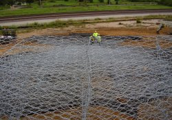 A&S Railroad Gabion Basket Structure, Stone for 100-Yr Flood Emergency Overflow / Looking East (September 16, 2014)