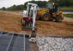 A&S Railroad Gabion Basket Structure Stone for 100-Yr Flood Emergency Overflow / Looking Northeast (September 17, 2014)