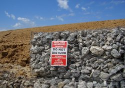 A&S Railroad Gabion Wall, Warning Signs / Looking West / Southwest (September 15, 2014)