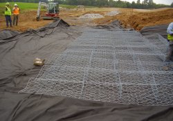 A&S Railroad Gabion Basket Structure for 100-Yr Flood Emergency Overflow / Looking Southwest (September 16, 2014)