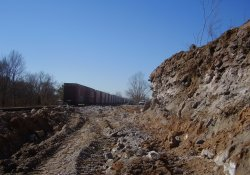 A&S Railroad 3rd Rail Project, Gypsum Wall Cut / Looking South (March 11, 2014)