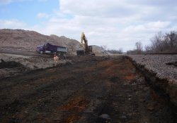 A&S Railroad 3rd Rail Project, Cutting Base Material to Make Room for Clean Soil / Looking North (March 25, 2014)