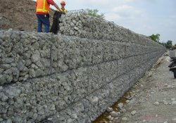 A&S Railroad 3rd Rail Project, Gabion Wall Construction / Looking Northwest (June 6, 2014)