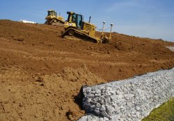 Clean Soil Cover Grading Above A&S Railroad Gabion Wall / Looking Northwest (August 26, 2014)